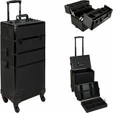 Buy Aluminum Rolling Makeup Case Cosmetic Professional Organizer Trolley Lockable
