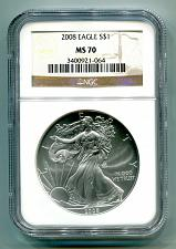 Buy 2008 AMERICAN SILVER EAGLE NGC MS70 BROWN MS 70 PRISTINE COIN AND SLAB PQ