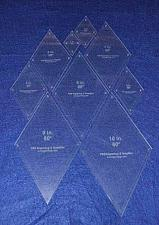 """Buy Diamond Quilt Templates 2"""" - 10"""""""" - Clear 1/8"""" 60 Degree W/guideline Holes"""