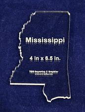 """Buy State of Mississippi Template 4"""" X 6.5"""" - Clear ~1/4"""" Thick Acrylic"""