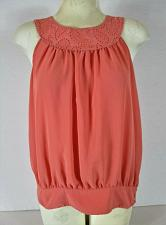 Buy FOREVER womens Large sleeveless peach CROCHET BUTTON NECK banded hem top (M)