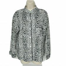 Buy Victorias Secret Button Down Shirt Size Medium Black White Tan Leopard Print