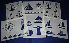 """Buy 6 Pieces of 14 Mil Mylar 8"""" X 10"""" Nautical Stencils- Painting /Crafts/ Templates"""