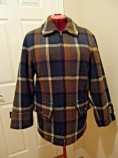 Buy Green Plaid 100% Wool Makinaw Car Coat ZIP Jacket Quilted Lining Heavy VTG