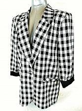 Buy AXIOM womens Medium 3/4 sleeve black white RAYON blend PLAID 1 button jacket (B4