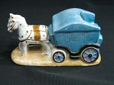 Buy Vintage Horse Team and Coach Porcelain Figural Ashtray Snuffer Japan