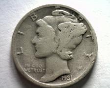 Buy 1931-S MERCURY DIME VERY GOOD VG NICE ORIGINAL COIN BOBS COINS FAST SHIPMENT
