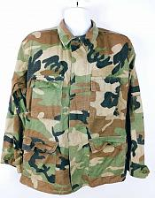 Buy Military Issue Men's Woodland Camouflage Jacket With Pockets Size Medium