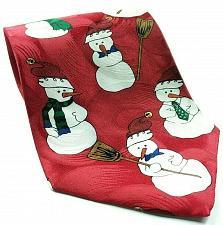 Buy Snowman Christmas Broomstick Scarf Red 100% Silk Novelty Necktie