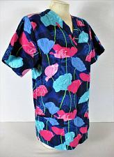 Buy ALLHEART womens Small S/S blue pink FLORAL print scrub top (C)