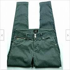 Buy Hudson Collin Vice Versa Skinny Jeans 26 Button Flap Pockets Gold Polka Dot