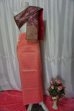 Buy Bubblegum Thai Lanna Synthetic Silk sinh Skirt Pha Bieng Tailor to your size