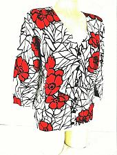 Buy Fever womens Large 3/4 sleeve red black white button down stretch top (X)PMD