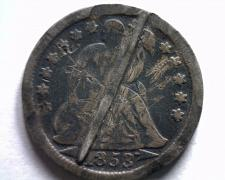 Buy 1853 ARROWS SEATED LIBERTY DIME PIN SMOOTHED REVERSE WITH FANCY DETAIL BOBS COIN
