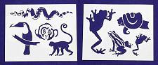 "Buy Jungle Animals -2 Piece Stencil Set 14 Mil 8"" X 10"" Painting /Crafts/ Templates"