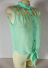 Buy POOF COUTURE womens Medium sleeveless aqua CUTOUT NECKLINE hi low sheer top (R)
