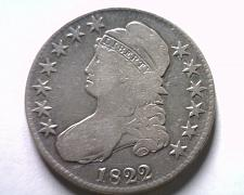 Buy 1822 BUST HALF DOLLAR O.113 R-3 FINE / VERY FINE F/VF NICE ORIGINAL COIN
