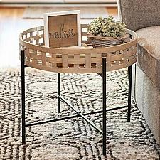 Buy End Side Table Round Woven Basket Livingroom Country Farmhouse Country Decor