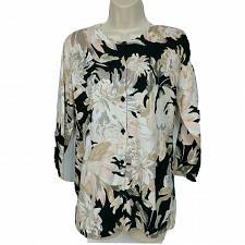 Buy Isaac Mizrahi Live! Watercolor Floral Printed Cardigan XS Black Pink White