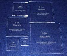 "Buy Square Templates. 1"", 2"", 3"", 4"", 5"", 6"" - Clear ~1/4"""