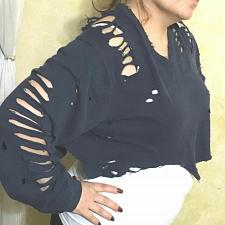 Buy Furst of a kind sweater long sleeve distressed Cropped Retail $148 Size XL