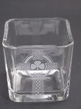 Buy Glass candle votive, Celtic shamrock cross gift Can be customized