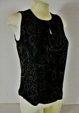 Buy KATE HILL womens Sz 6 sleeveless black floral 100% SILK keyhole neck top (B6)P