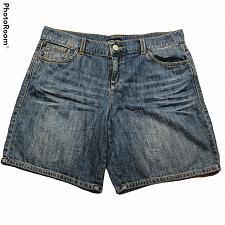Buy New York & Company Womens Bermuda Jean Shorts Size 12 Solid Blue Pockets