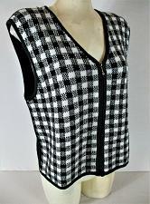 Buy VILLAGER womens Medium sleeveless black white FULL ZIP sweater vest (C2)
