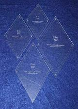 """Buy Diamond Templates 5"""", 6"""", 7"""", 8"""" - Clear 1/8"""" 60 Degree w/ Guideline Holes"""