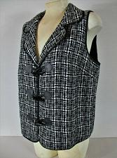 Buy CHRISTOPHER & BANKS womens Medium black white TOGGLE BUTTON lined vest (F)