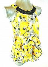 Buy Pogo Club girls XL (14/16) yellow black RUFFLE lined SEQUINS stretch top (J)PMTD