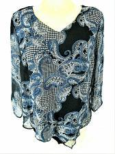 Buy Apt. 9 womens Medium 3/4 ruched sheer sleeve blue ASYMMETRICAL hem top (X)PMTD