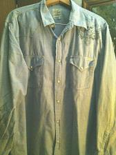 Buy Men`s Lucky Brand Western Blue Graphic Scull Logo Design Shirt Snap Closures