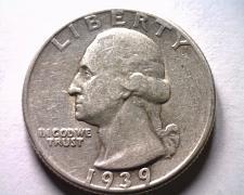 Buy 1939 WASHINGTON QUARTER EXTRA FINE+ XF+ EXTREMELY FINE+ EF+ ORIGINAL COIN SKU201