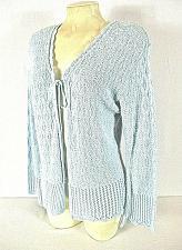 Buy DEFINITELY womens Medium BELL L/S blue CROCHET KNIT tie front sweater (C4)