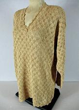 Buy AVON womens Small L/S beige GOLD metallic CROCHET knit V neck sweater (S)