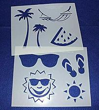 """Buy Summer Stencils -Mylar 2 Pieces of 14 Mil 8"""" X 10""""- Painting /Crafts/ Templates"""