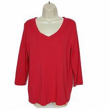 Buy J Jill Womens Perfect Pima T-Shirt Size Small Red V Neck 3/4 Sleeve