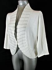 Buy JENNY womens XL 3/4 sleeve white CROCHET TRIM 1 button cardigan sweater (A8)P