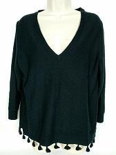 Buy J Crew Women's Blouse Top Size Medium Solid Black Tasseled V Neck Long Sleeve