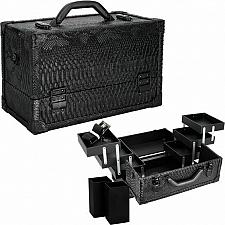 Buy Black Python 6 Tiers Accordion Trays Professional Cosmetic Makeup Train Case