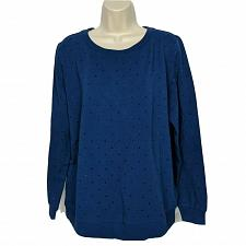 Buy Susan Lucci Collection Studded Long Sleeve Crew Sweatshirt Medium Navy Blue