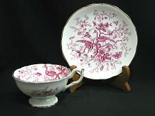 Buy Coalport English Bone China Cairo Pink White Footed Tea Cup & Saucer Birds