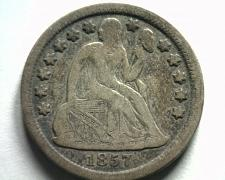 Buy 1857 SEATED LIBERTY DIME VERY FINE TONED VF NICE ORIGINAL COIN FROM BOBS COINS