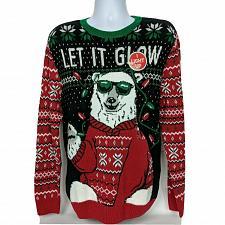 Buy NWT Ugly Christmas Sweater Polar Bear Light Up Let It Glow Lg Long Sleeve
