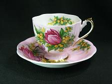 Buy Queen Anne Tea Cup and Saucer Set Tulip Bouquet on Pink Background Striking!