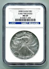 Buy 2008 AMERICAN SILVER EAGLE NGC MS69 EARLY RELEASE BLUE LABEL PREMIUM QUALITY PQ