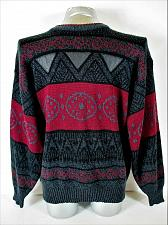 Buy IMPACT mens Large gray red black GENUINE LEATHER TRIM pullover sweater (A7)