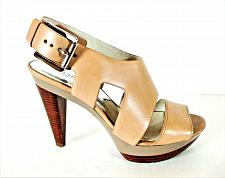 Buy Michael Kors Beige Leather Platform Heels Sandals Shoes Women's 8 1/2 M (SW15)